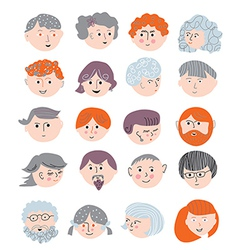 People faces funny set vector image