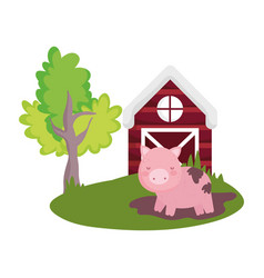 pig in mud grass farm barn tree animal isolated vector image