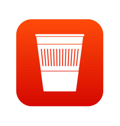 plastic office waste bin icon digital red vector image