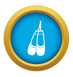 Pointe shoes icon blue isolated vector