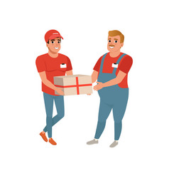 Postal worker giving parcel to young courier man vector