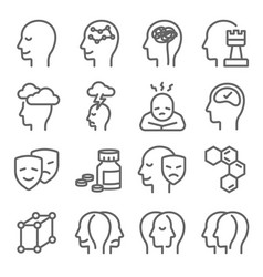 psychology icons set vector image