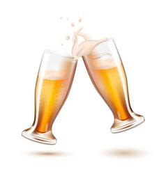 Realistic beer glasses toasting splashing vector