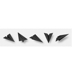 realistic black handmade paper planes isolated on vector image
