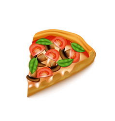 Realistic detailed 3d pizza slice vector