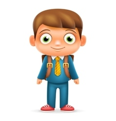 Realistic School Boy Child Cartoon Education vector