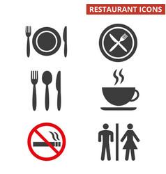 restaurant icons set on white background vector image