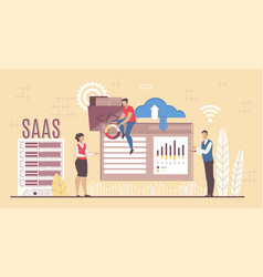 saas software development applying for business vector image