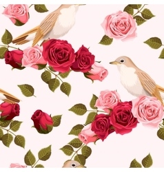 Seamless nightingale and roses vector image
