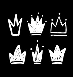 set abstract silhouettes crowns hand drawn vector image