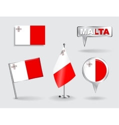Set maltese pin icon and map pointer flags vector