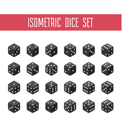 set of black isometric dice vector image