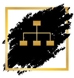 Site map sign golden icon at black spot vector