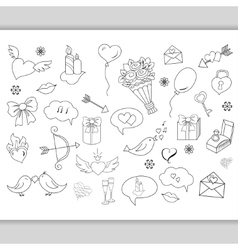 Sketchy hand drawn love doodles objects vector image