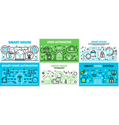 Smart home banner set outline style vector