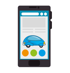 smartphone device with futuristic car vector image