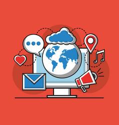 social media technological vector image