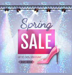 spring sale poster in disco style womens day sale vector image