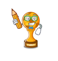 Student soccer trophy with mascot shape vector
