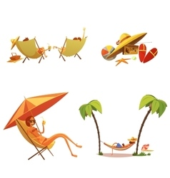 Summer Holiday Cartoon Icons Set vector image