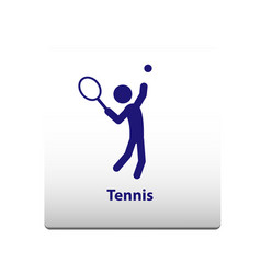 tennis sport symbol stickman solid icon vector image
