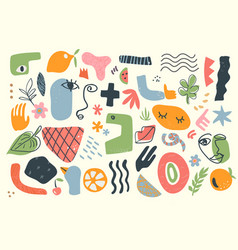 Trendy doodle abstract nature icons isolated vector