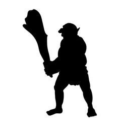 troll silhouette monster villain fantasy vector image
