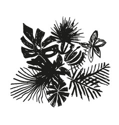 tropical flower composition hand drawn plant vector image