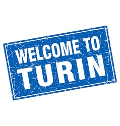 Turin blue square grunge welcome to stamp vector