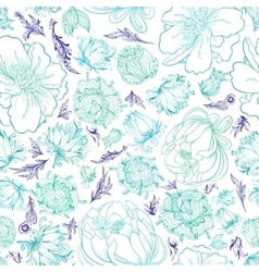 Turquoise Sketch Floral Pattern vector image