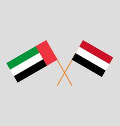 Uae and yemeni flags vector