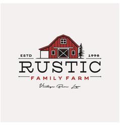 Vintage retro rustic barn farm logo design vector