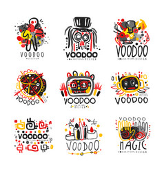 voodoo african and american magic logo set vector image
