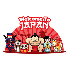 Welcome to japan with cute characters vector