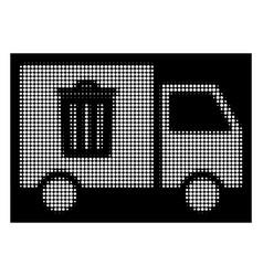 white halftone rubbish transport van icon vector image