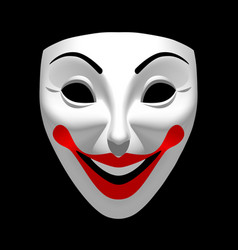 White theatrical smiling mask isolated on black vector