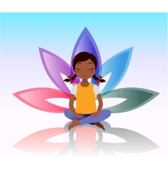 Yoga kid Asana pose on lotus background vector