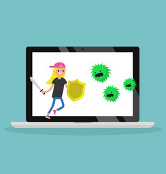 Young blond girl fighting against virus flat vector