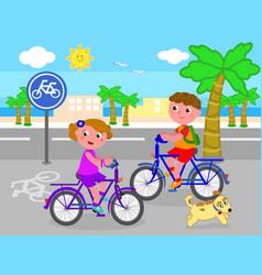 boy and girl on bike vector image vector image