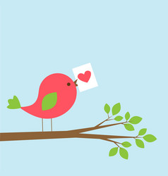 cute bird with valentine card on branch vector image