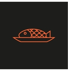Fish on a plate line logo modern flat vector image
