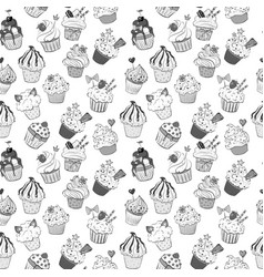 seamless background with doodle sketch cupcakes on vector image vector image