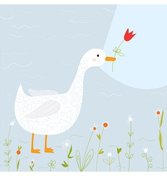 Spring greeting card with goose and flowers vector image vector image