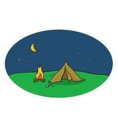 drawing of night camping scene with tent vector image