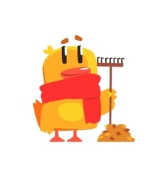 Duckling with rake and autumn leaves cute vector