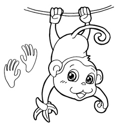 monkey with paw print Coloring Pages vector image vector image