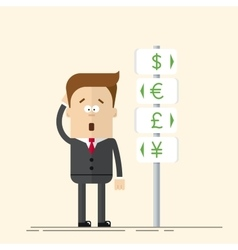 Businessman or manager has the choice of currency vector image vector image