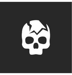 Cracked skull on a dark background icon vector image