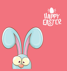 Easter bunny with calligraphic text happy easter vector