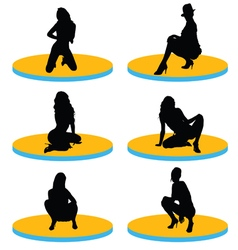 girl sexy on stage silhouette vector image vector image
